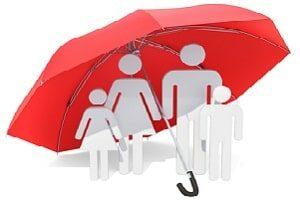 сім'я з чотирьох людей під парасолькою страхування