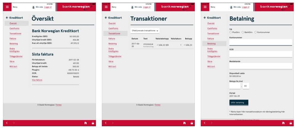 Bank Norwegian app (ipad)