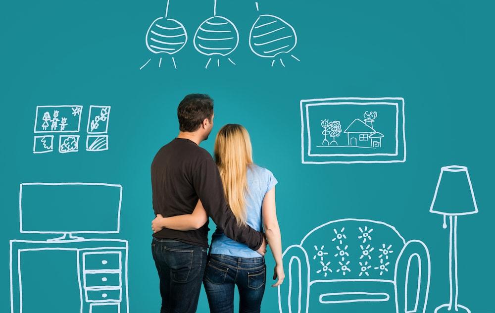 par som drömmer om ny bostad genom att låna pengar