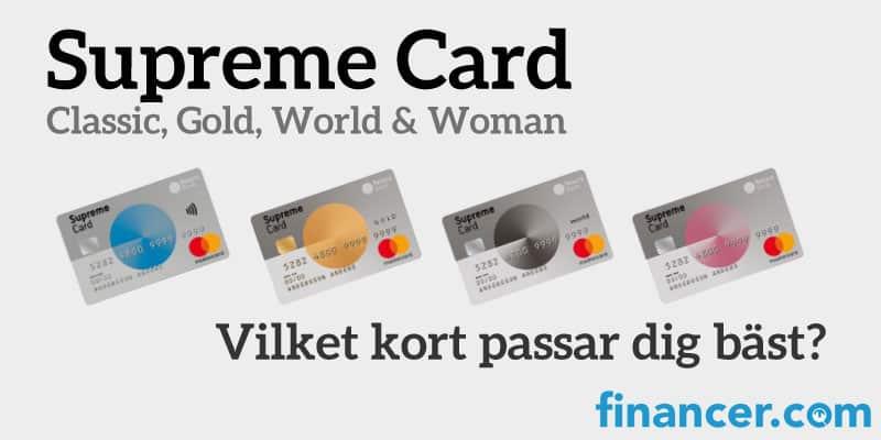 Supreme card kreditkort - jämförelse