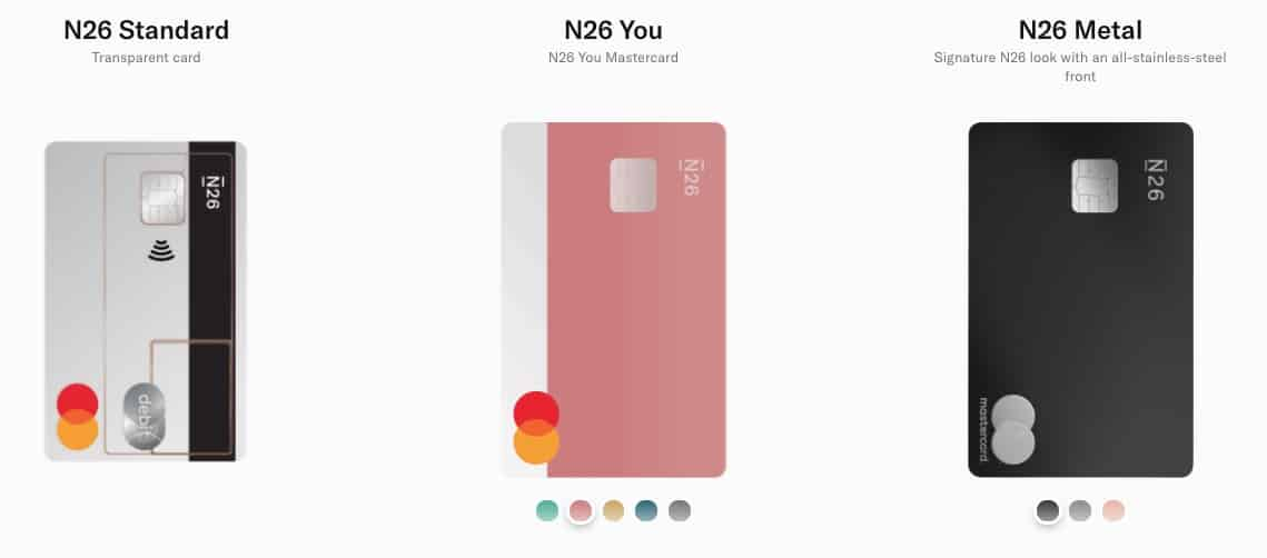 Välj vilket N26-kort du vill ha