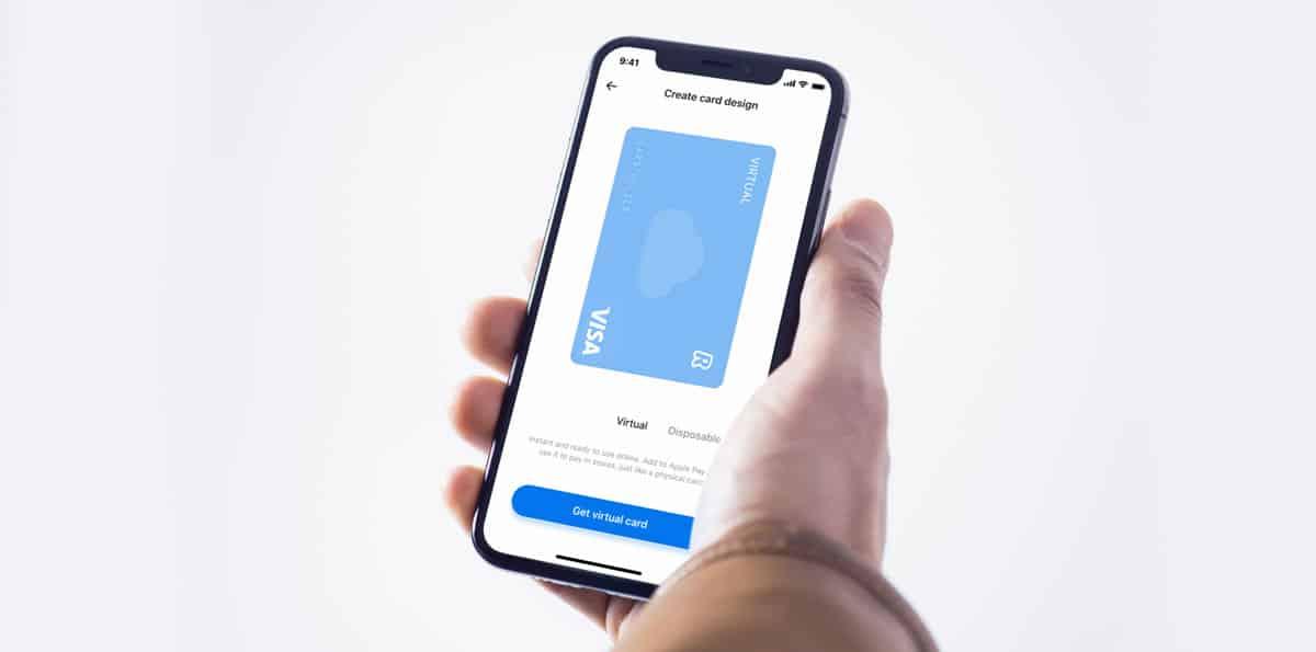 Virtuellt kort från Revolut i appen