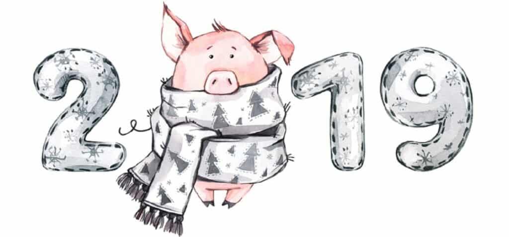 цифри та свинка, закутана в шарф