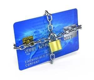 синя платіжна карта захищена метилевим замком