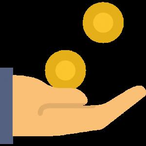 ръка с падащи в нея монети