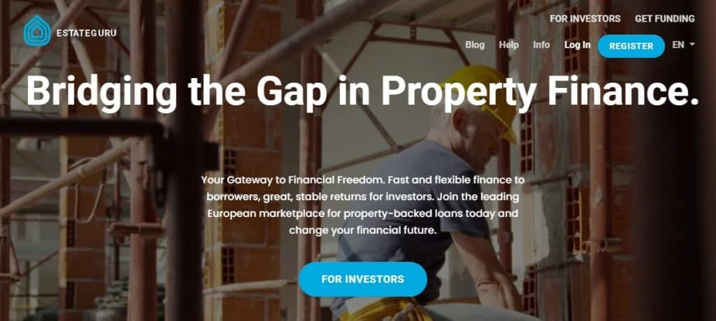 начална страница на сайта на EstateGuru