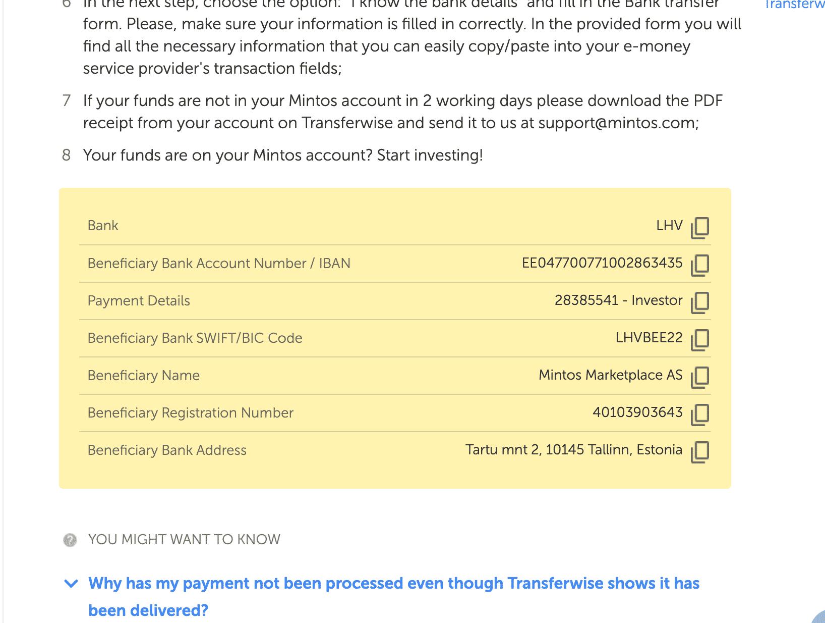 Nomor rekening Transferwise Mintos
