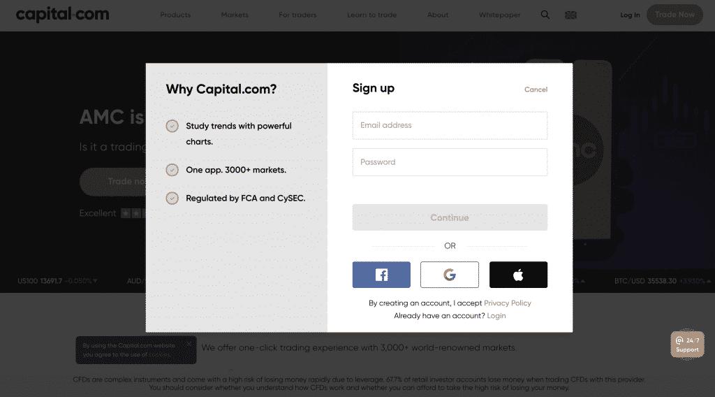 Daftar di capital.com