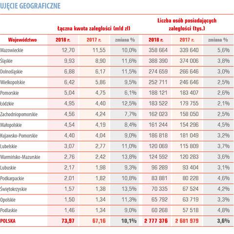 dłużnicy w Polsce ujęcie geograficzne